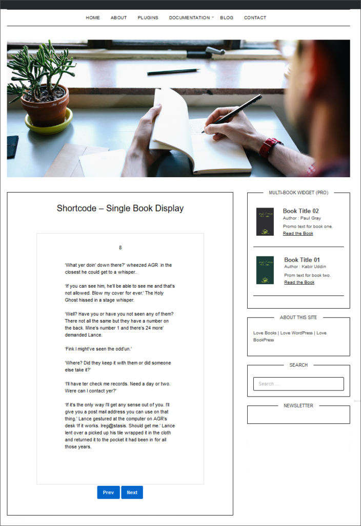 Book page (text) displaying in a post or page